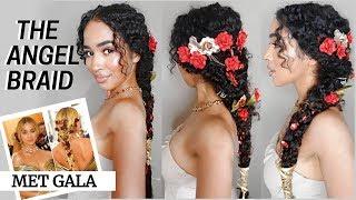 HOW TO: JASMINE SANDERS MET GALA HAIRSTYLE FOR CURLY HAIR - MERMAID/FAIRY BRAID by Lana Summer