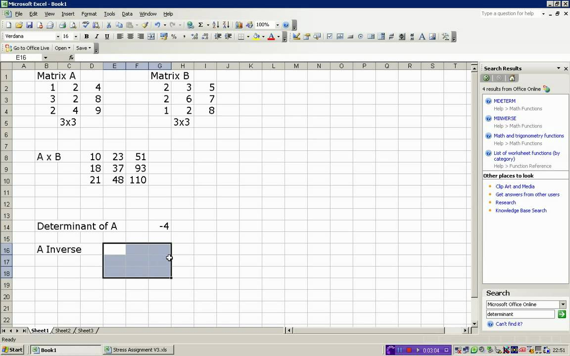 Matrix Multiplication and Inverse in Excel - YouTube