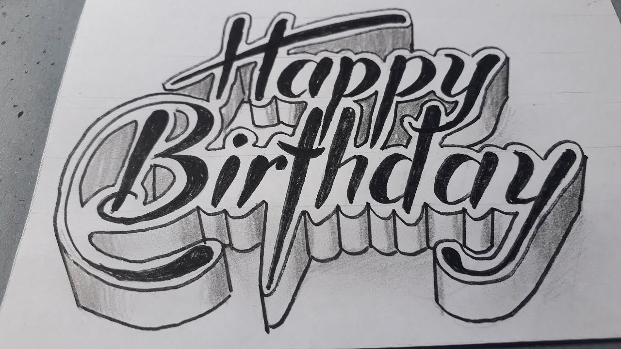 3d Drawing Happy Birthday How To Write Art Youtube