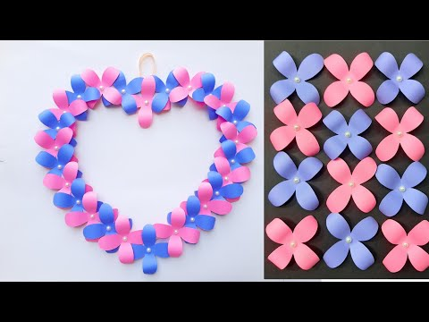diy-wall-hanging-paper-flowers-heart-|-wall-hanging-craft-ideas-|-flowers-heart