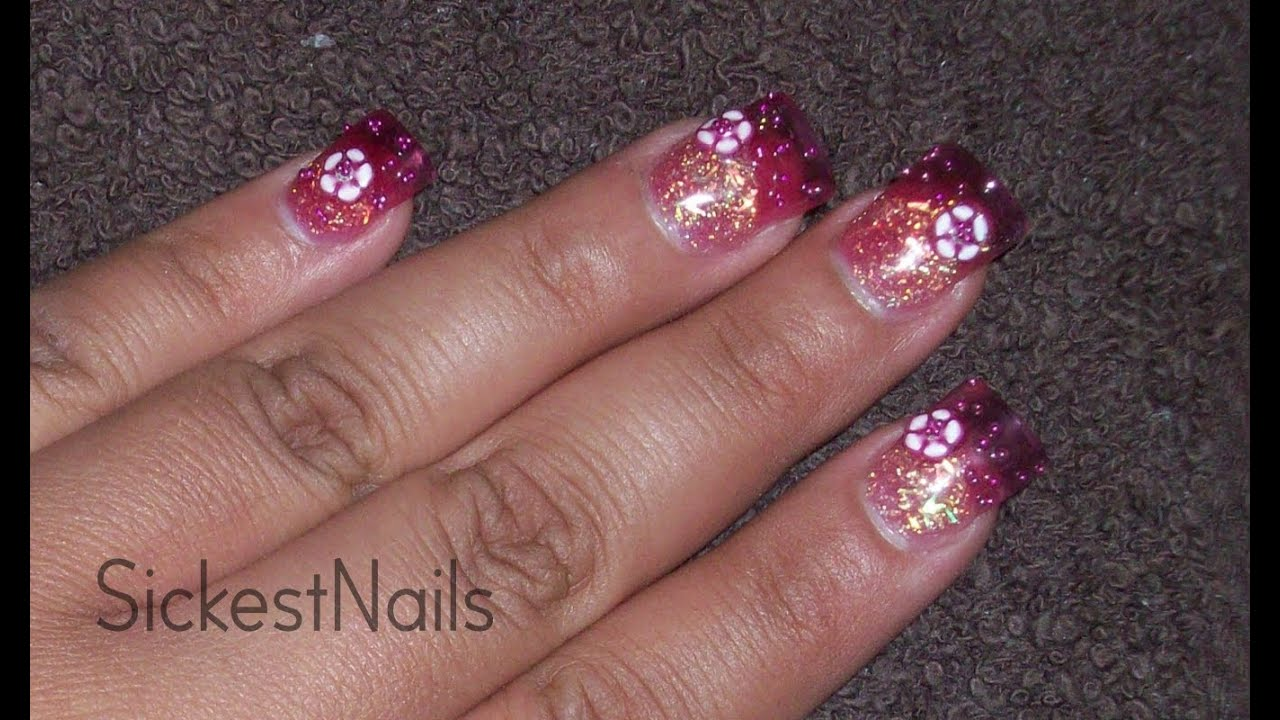 Acrylic nail design hot pink color drops glitter nail youtube acrylic nail design hot pink color drops glitter nail prinsesfo Choice Image