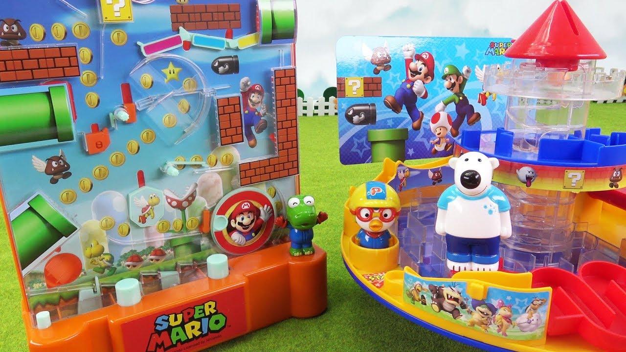 슈퍼마리오 점프점프 마리오 슈팅 게임 vs 슈퍼마리오 미로의 성 보드 게임~ 빨리 골인하기 대결! ❤ 뽀로로 장난감 애니 ❤ Pororo Toy Video | 토이컴 Toycom