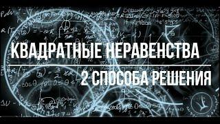 Метод интервалов и решение через график параболы для квадратных неравенств