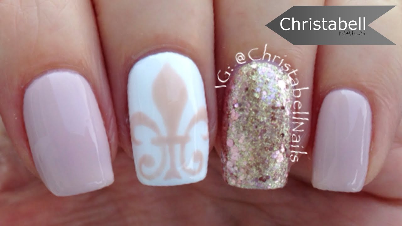 Fleur De Lis Nail Art Tutorial Classic Nails Youtube