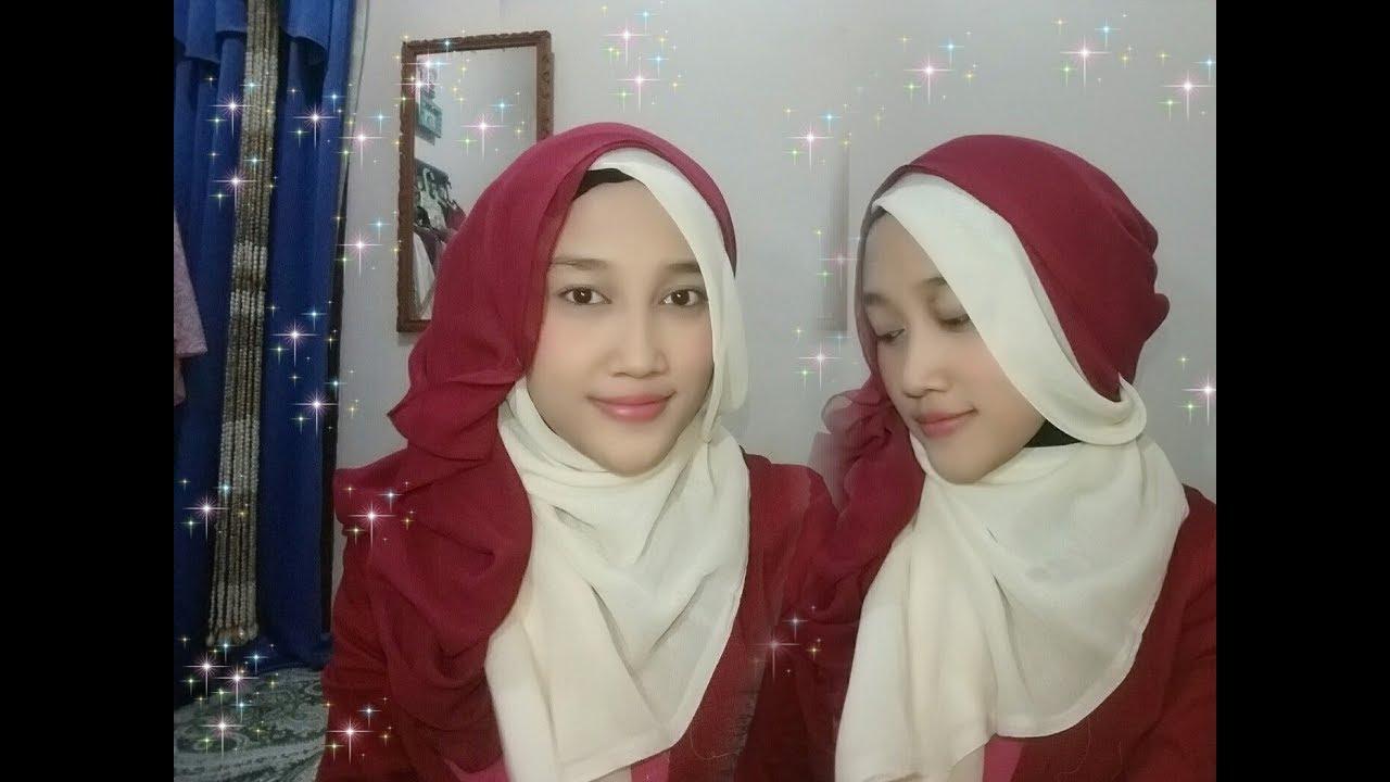 Tutorial Hijab Segiempat Dua Warna Merah Putih Kemerdekaan HUT RI