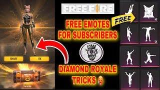 Free fire free emotes and new diamond royale dress tricks tamil