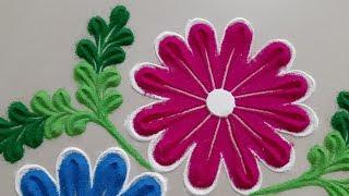 Beautiful Big Flowers Rangoli design by Aarti shirsat ||Top Rangolis