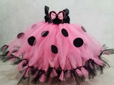 Pink W/ Black Combi Minnie Mouse Inspired Tutu Dress For Girls Birthday By DJs Tutu Dress