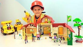 Строитель Даник и МАШИНКИ собирают лошадиную ферму #Playmobil - Видео для детей про #Игрушки