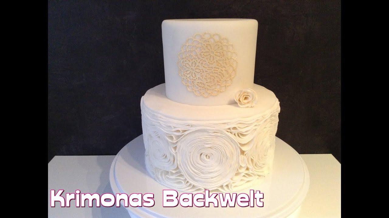 Rosen Rüschen Fondant Torte Essbare Spitze Rose Ruffle Fondant Cake Sugar Lace Motivtorte