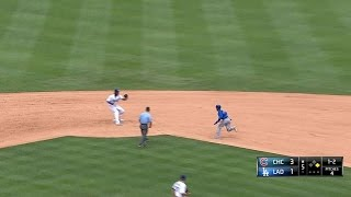 CHC@LAD: Dodgers catch Alcantara stealing second