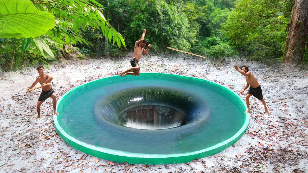 Build Temple Underground House Water Slide To Tunnel Underground Swimming Pools For hiding