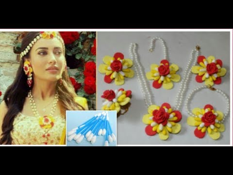 (हिन्दी में)How to Make Bridal Flower Jewelry From Cotton Buds For Haldi/Mehndi Function...