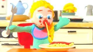 BABY ELSA EATS PASTA ❤ Spiderman, Hulk & Frozen Play Doh Cartoons For Kids