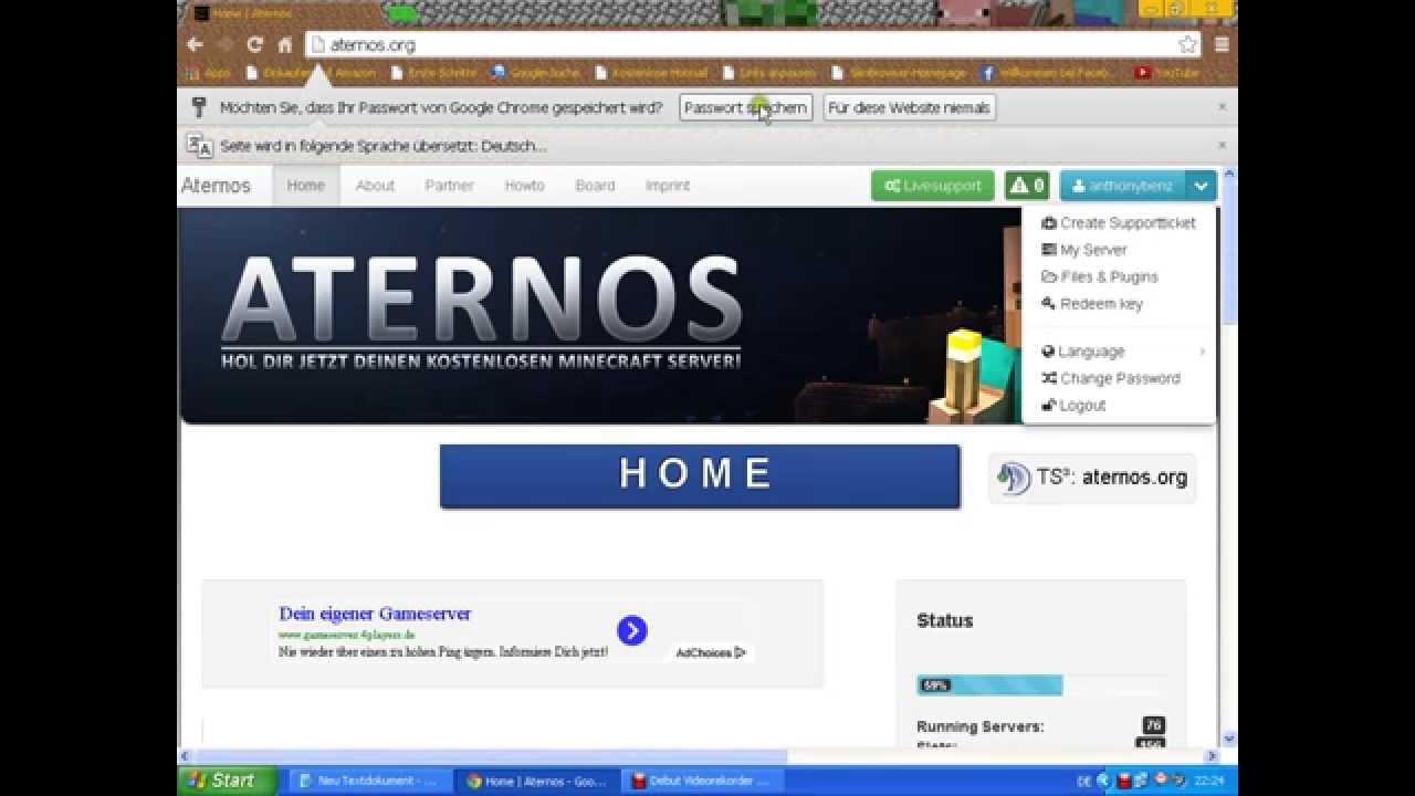 Kostenlose Minecraft-Server bekommen - Aternos.org ...