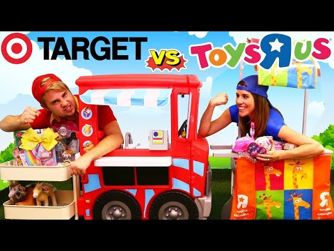 TOYS R US Fake Store vs TARGET Prank Kids BAD NEIGHBORS Funny Shopping For Kids + LOL Surprise Ball