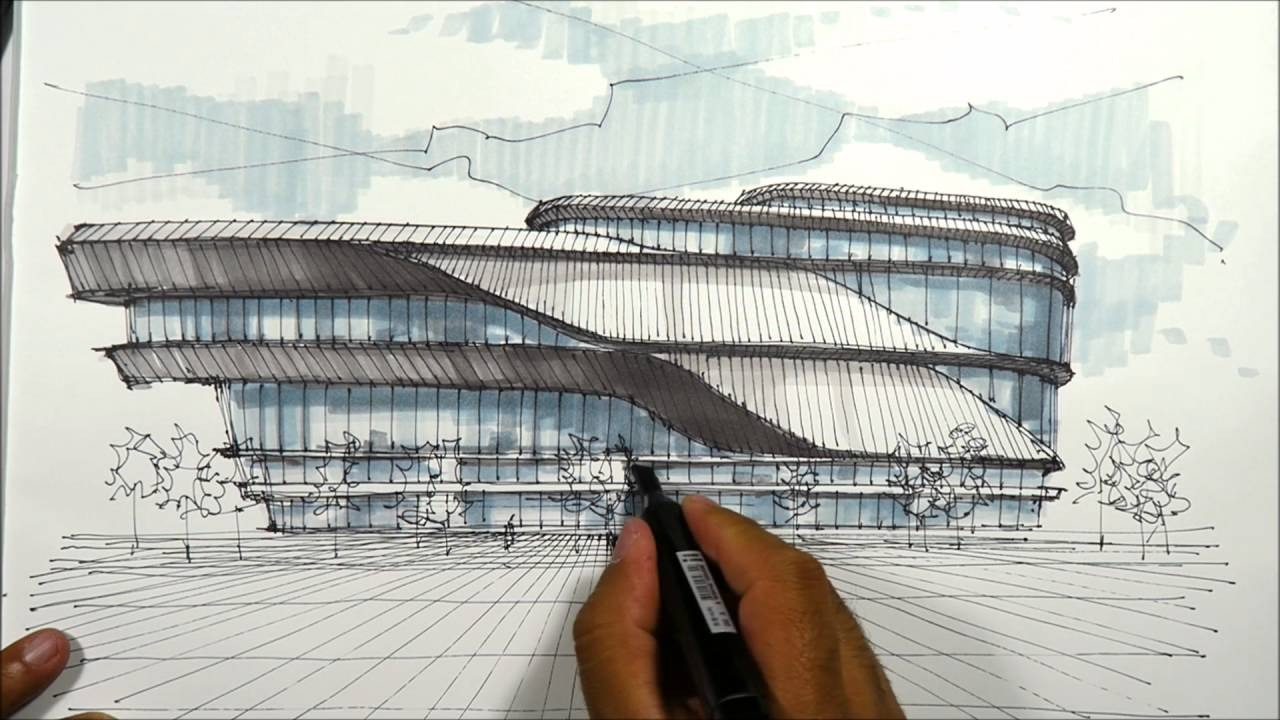 Architectural sketching pavillion 1 youtube for Architect online free