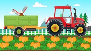 The TRACTOR and pumpkin harvesting | Farm Vehicle Video for Toddler Kids | Bajka TRAKTOR