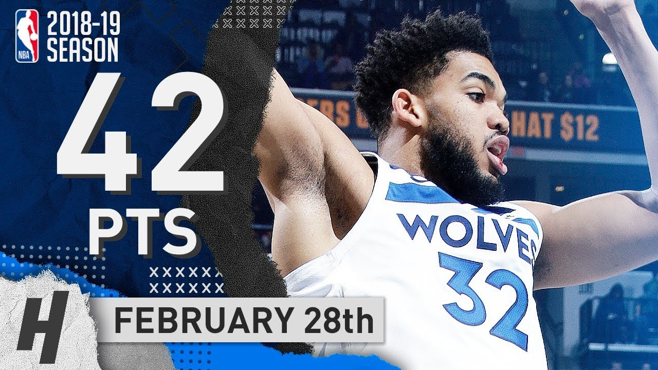 Karl-Anthony Towns Full Highlights Wolves vs Pacers 2019.02.28 - 42 Points, 16 Reb!
