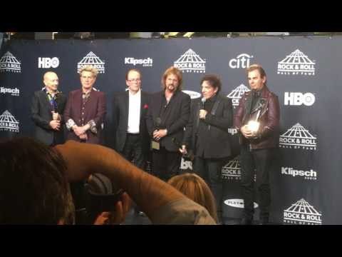 Journey speaks backstage at 2017 Rock Hall induction