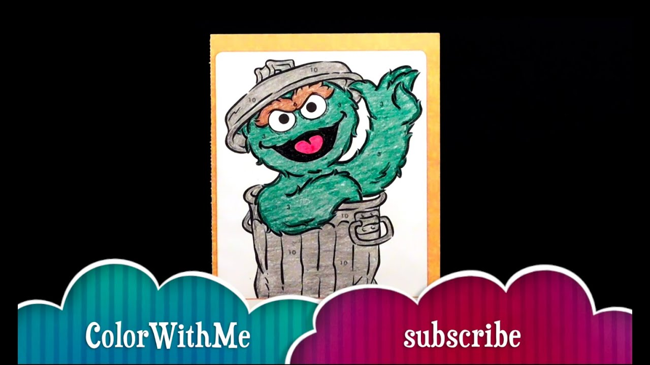 Learning Colors Sesame Street Oscar The Grouch Coloring Book Using Crayola Crayons
