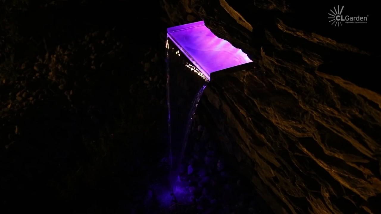 Wasserfall aus Edelstahl 60cm Einsatz mit LED Beleuchtung RGB beleuchtet Licht