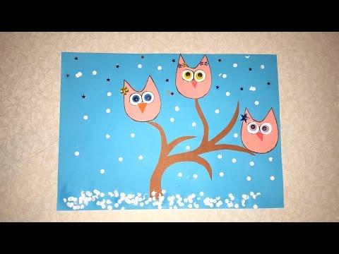 Die Eulen Winter Basteln mit Papier mit Schablone zum Download