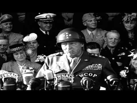 General George S Patton talks about excellent job done by The Third Army during W...HD Stock Footage