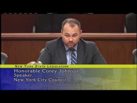 Speaker Corey Johnson Testifies at New York State Legislature Budget Hearing