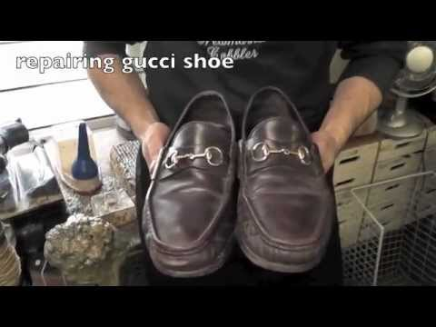 981276def Repair Gucci Leather Sole www.pickupmyrepair.co.uk - YouTube
