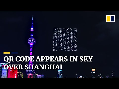 Scannable QR code appears in sky above China's Shanghai