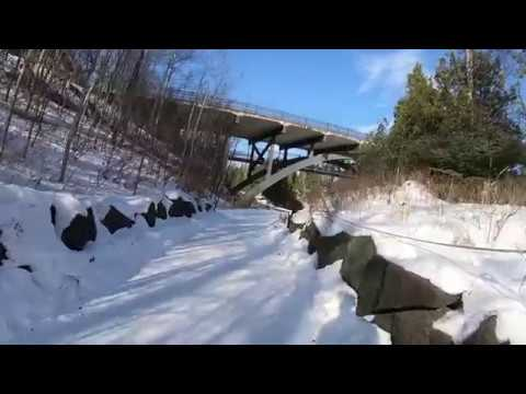 Gooseberry Falls Trails in Winter - Walking from near the Lower Falls up to Fifth Falls Bridge