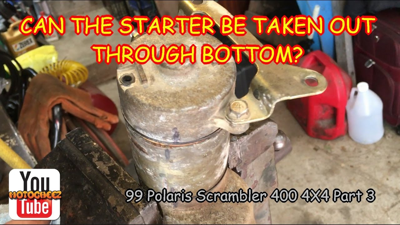 1999 polaris scrambler 400 4x4 part 3 starter removal through the bottom [ 1280 x 720 Pixel ]