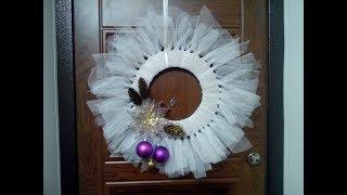 Рождественский венок на дверь из лоскутов Новогоднее украшение своими руками