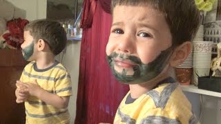BABY FREAKS OUT SEEING HIMSELF WITH BEARD!!