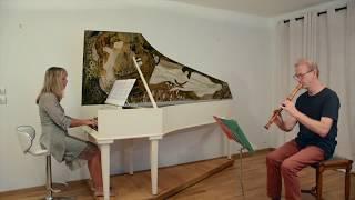 J.S. Bach, sonate BWV 1016, flûte à bec et clavecin. Guido Hulsens, Catherine Zimmer,