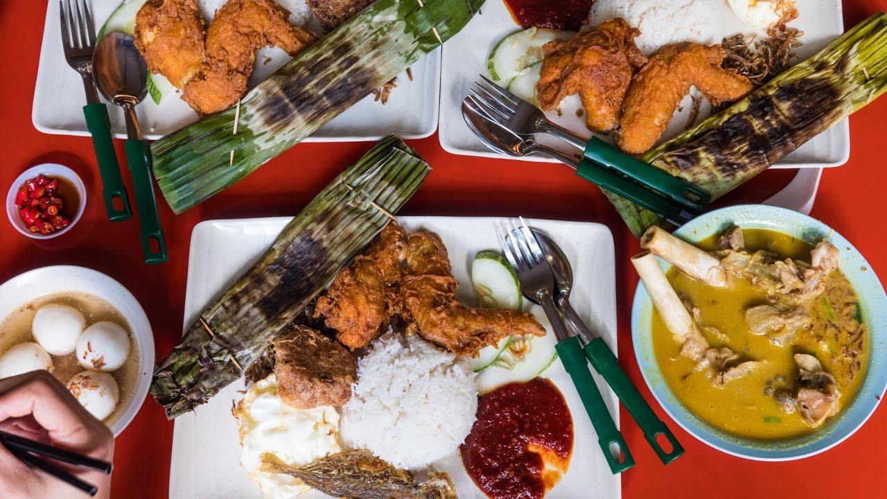 Famous Singaporean Food  Adam Road NASI LEMAK in Singapore  YouTube