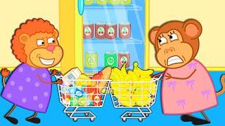Lion Family 🍒 Shopping Challenge Cartoon for Kids YouTube