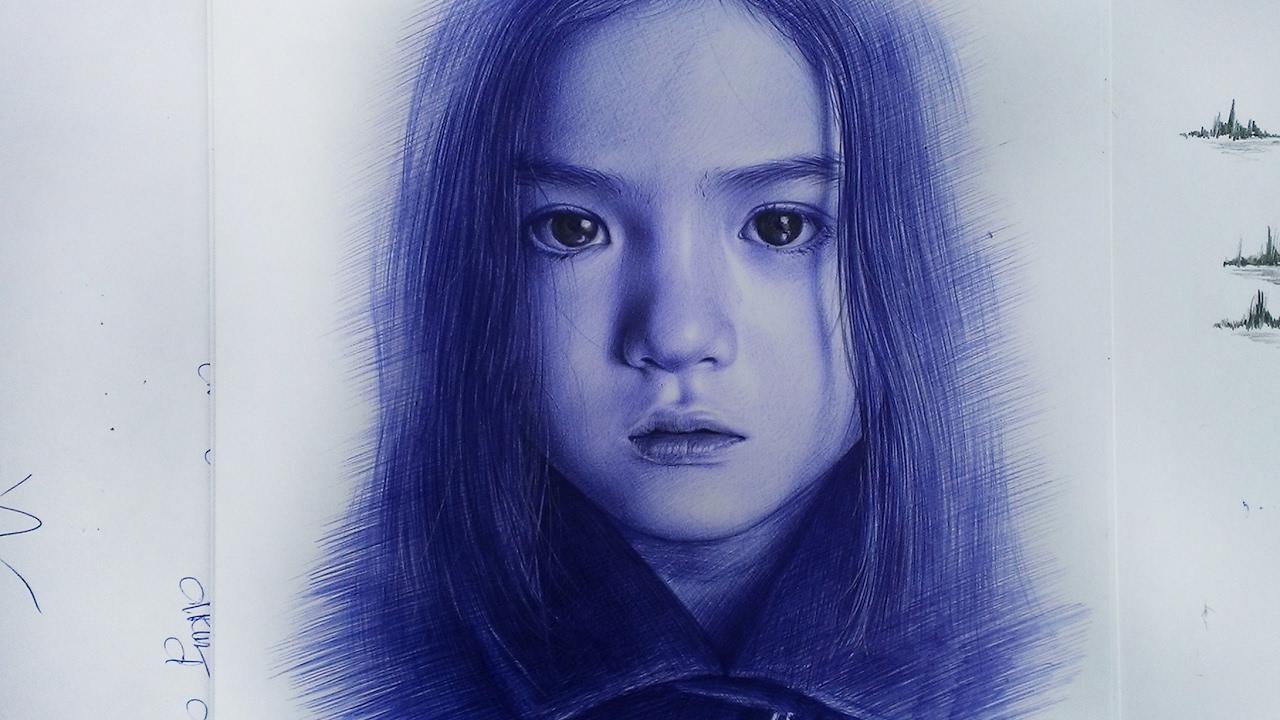 Ballpoint pen drawing – Vẽ chân dung bút bi – DP Truong