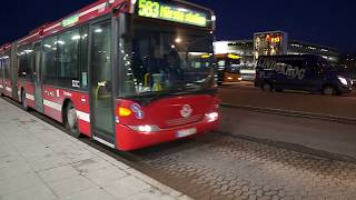 Sweden, Stockholm, ride with bus 583 from Arlanda Airport Terminal 5 to Märsta Train Station