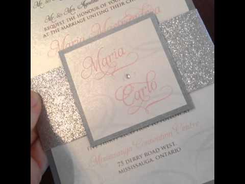 Glitter Belly Band Wedding Invitation