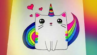 как нарисовать радужного кота единорога? РИСУНКИ ДЛЯ ДЕТЕЙ