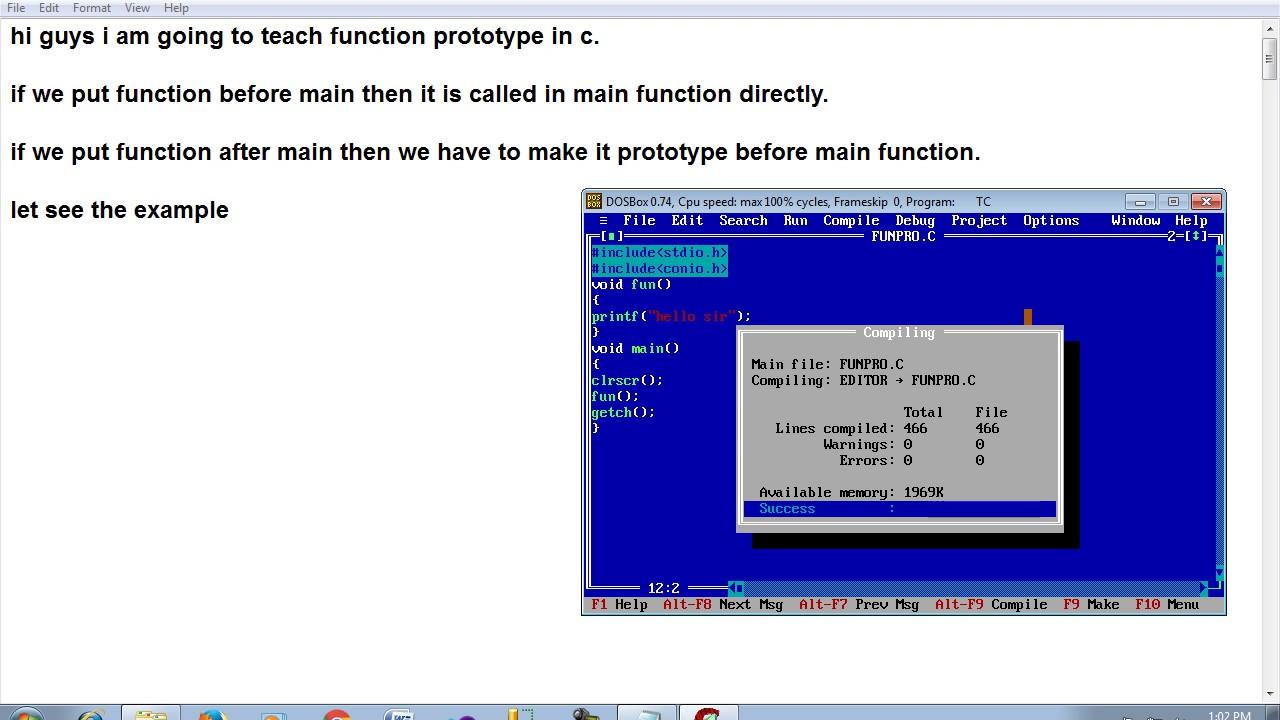 function prototype in c