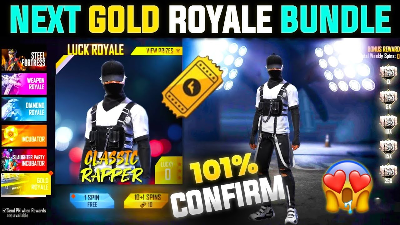NEXT GOLD ROYALE FREE FIRE 2021    NEW GOLD ROYALE BUNDLE    FREE FIRE NEXT GOLD ROYALE BUNDLE