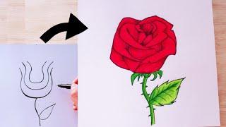วิธีวาดรูป ดอกกุหลาบสวยๆ / วาดรูปดอกไม้ / ระบายสีไม้ | How to draw Rose /Drawing Rose