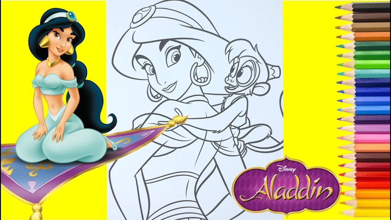 Disney Princess Jasmine And Abu Coloring Pages Aladdin For Kids