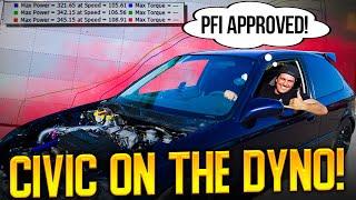 DYNO DAY! Turbo B16 Ek Hatch Gets A Tune @PFI Speed