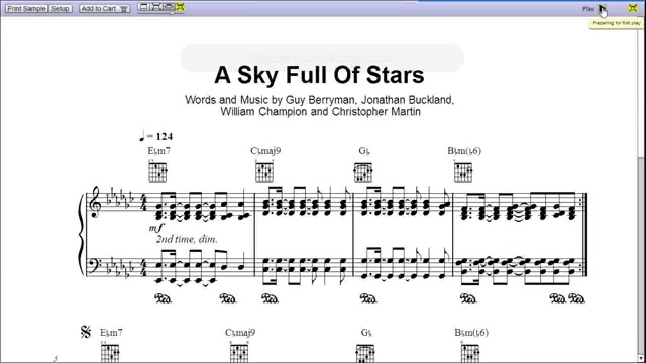 A sky full of stars by coldplay piano sheet musicteaser youtube hexwebz Choice Image
