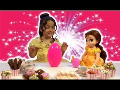 Disney Movie In Real Life PRINCESS TEA PARTY Cake + Frozen Elsa Dolls Toys Dress Up Costume PART 2