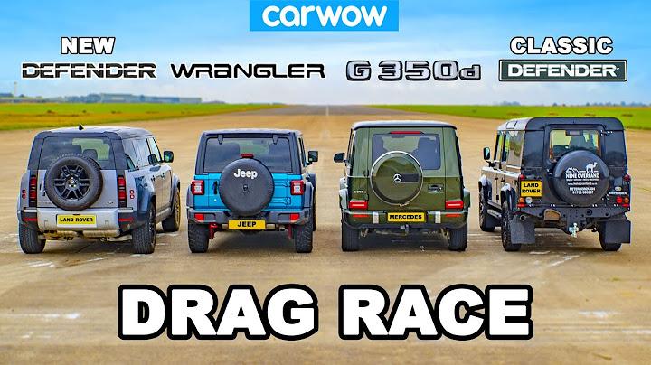 mercedes g350 vs jeep vs new  old defender drag race